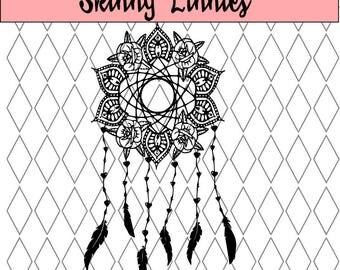 Roses and tribal pattern dream catcher svg cutting file. Silhouette , Cricut etc.