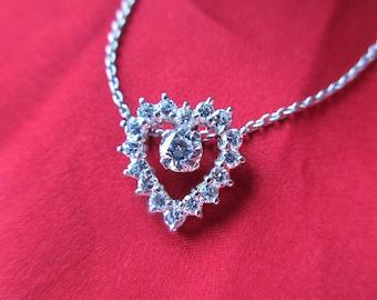 Diamond Heart Pendant Necklace 1 carat Diamonds Heart Necklace 18k White Gold Pendant  Valentines Pendant Genuine Colorless Diamonds