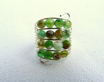 Steel ring and faceted natural stones - Green -