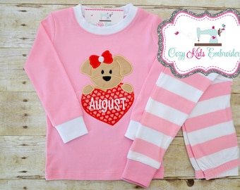 Red Pink Valentine's Day Vday pajamas pj puppy love heart girl child kid baby toddler infant applique embroidery monogram name pants shorts