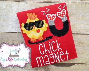 Valentines shirt, Boys Valentine's Day shirt, Chick Magnet shirt, boy shirt, raglan shirt, embroidery, applique