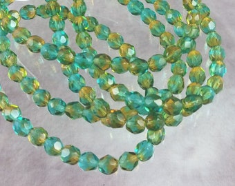 Beads, Czech glass, 6mm Aqua and Yellow Faceted Fire Polished Czech Glass Beads