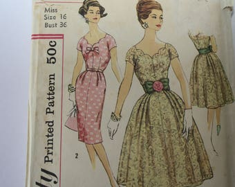 "Not a PDF download! An original, 1950s Vintage Sewing Pattern, Size 16, Bust 36"", Simplicity 3045, scalloped neckline, skirt variations"