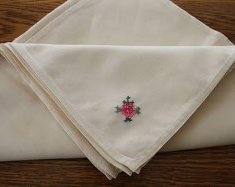 Embroidered Napkins 12 Set of 12 UNUSED Vintage Linen Napkins, embroidered corner, off-white color, large napkins