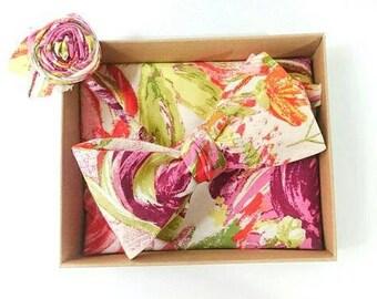 Floral Self Tie Bow Tie - Floral Pocket Square - Floral Boutonniere - Boho Gift Set for Men - Wedding Bow Tie - Boho Bow Tie - Boho Wedding