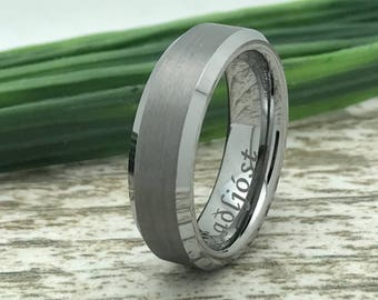 6mm Tungsten Ring, Engraved Wedding Date Ring, Roman Numeral Ring, Coordinates Ring, Custom Promise Ring for Him, Purity Ring