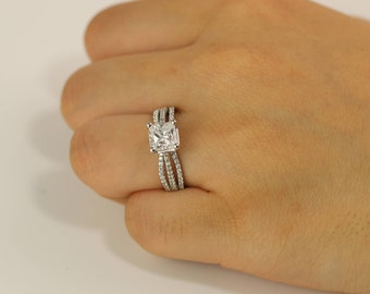 1.25 ct Sterling silver Engagement Ring - Promise Ring - Wedding Ring - Cubic Zirconia ring - CZ rings - solitaire ring