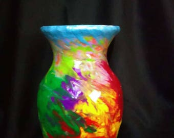 FREE SHIPPING Vibrant multi-color glass and clay vase