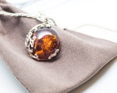 Baltic Amber Necklace Amber Pendant Amber  Silver Pendant Silver Amber Necklace Amber Jewellery UK Amber jewelry cognac amber modern