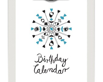 Perpetual Birthday Calendar, DIY, Printable PDF, Instant Download, Hand Made Birthday Calendar in Mid-Century Design with Calligraphy