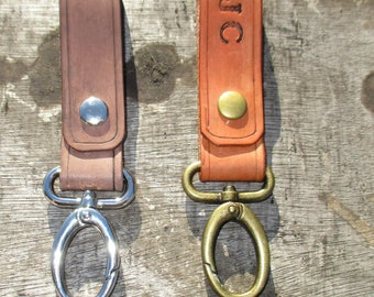 Personalized Leather Belt Loop  Key ring  Gifts. Key Holder, Key Hook, key fob. handmade with Oval Clip