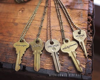 Vintage Key Necklace | Hand Stamped Custom Personalized Repurposed Inspirational Giving Personalized Unisex Jewelry Gifts for her
