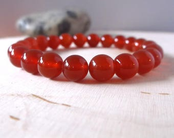 Carnelian bracelet / bead bracelet / stretch bracelet / 8mm yoga bracelet / genuine gemstone / red - orange jewelry / men / women