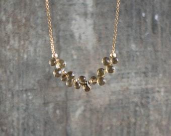 Smoky Quartz Necklace, Dainty Cluster Necklace, Smokey Quartz Jewelry, Genuine Gemstone Jewellery, Handmade Jewellery, Wife Gift