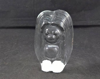 Troll troll face troll women glass troll Swedish glass made in Sweden mid-century glass paperweight glass small troll Scandinavian glass