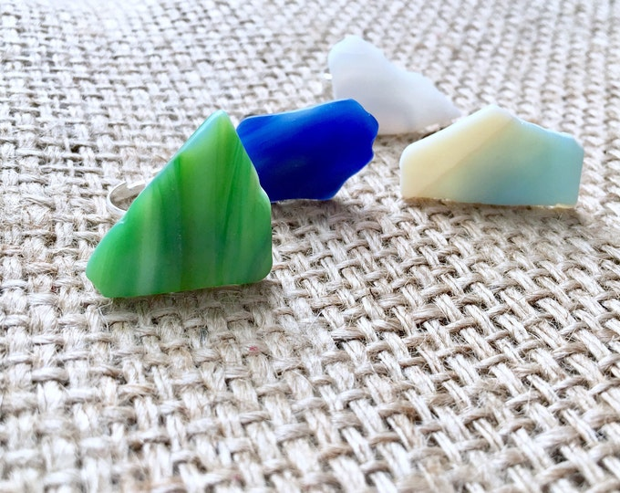 Tumbled Glass Ring, Sea Glass Ring, Recycled Glass Ring, Faux Sea Glass Ring, Boho Sea Glass Ring, Mermaid Ring, Adjustable Sea Ring