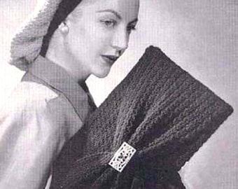 Draped Snood with Bag Crochet Hat Purse Pattern PDF
