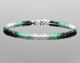 Genuin Emerald Bracelet Silver - Ombre Emerald, Green Gemstone Bracelet, Birthstone Bracelet for Woman Mom, May Birthstone Jewelry