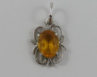 Yellow November Birthstone Sterling Silver Vintage Charm For Bracelet