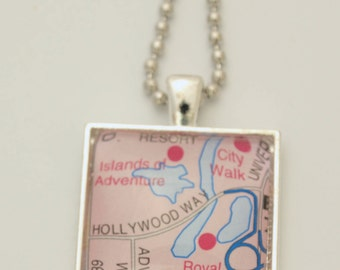Universal Islands of Adventure & City Walk Souvenir Map Pendant Necklace