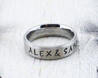 Custom Hand Stamped Stainless Steel Name Ring - Personalized Couples Ring - Custom Name Ring for Men - Personalized Ring for Women