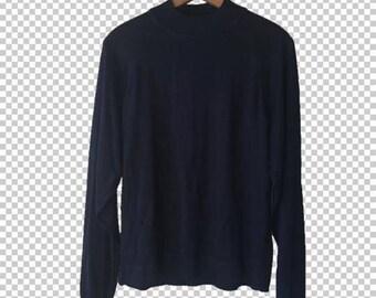 90s Basic Mock Neck Lightweight Sweater // Black Basics 1990s Minimalist Aesthetic // Light Sweater Women's Large