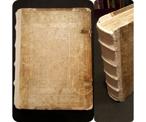 1593 Vitae Sanctorum by Franciscus Haraeus (Haraeum). Blind tooled. Etchings. Calendar of the Saints Lives.