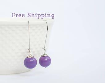 Long purple earrings, Purple long earrings, Long earrings, Earrings ball, Dangle ball earrings, Purple wedding earrings, Long earings 15mm