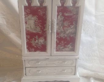 Large Shabby Chic Jewelry Box Armoire Vintage Wooden  Hand Painted White Jewelry Armoire Toile Fabric