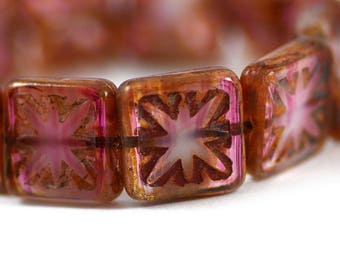 Czech Glass Etched Square Compass Beads Opalite Blush Pink Picasso Finish Strand 15mm