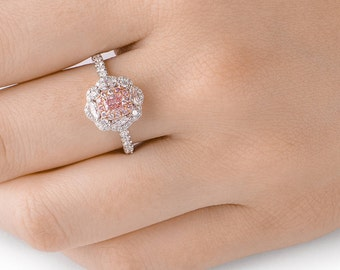 Pink Diamond Ring, Diamond Engagement Ring, 18K white and rose gold, Cushion cut Engagement  Ring, Unique Engagement ring, Halo Diamond Ring