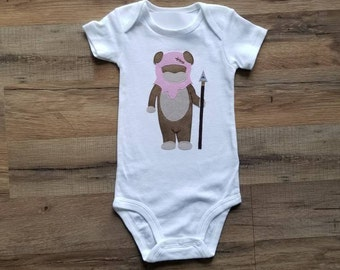 Girl Ewok / Baby Clothes / Star Wars / Hand Sewn / Baby Bodysuit