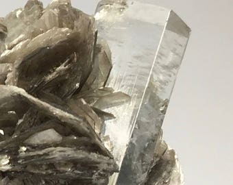 Exceptional Hexagonal Beryl Column on Muscovite with Facet Quality Aquamarine Crystal