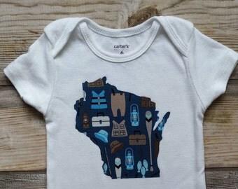 Wisconsin Fishing Onesie-Custom State Pride Onesie-Wisconsin Baby Boy Gift-WI Baby Shower Gift-Wisconsin fishing baby gift-Wisconsin baby