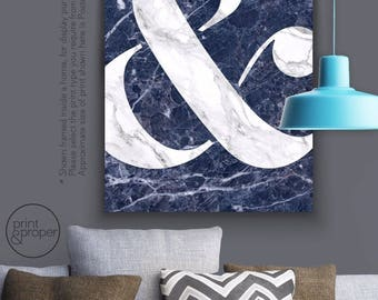 AMPERSAND & symbol - Blue Navy Marble - Art Print Poster Canvas