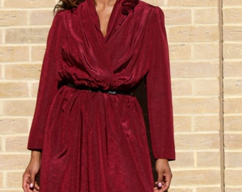 80's Vintage Party Dress Size Medium to Large Occasion Dress Vintage Party Dress Vintage Dress M/L  Burgundy Dresses for Tall Women