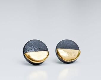 Mens Earrings, Earrings For Men, Mens Jewellery, Casual Stud Earrings, Geometric Earrings, Ceramic Earring, Porcelain Jewelry, Black Earring