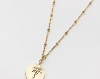 Chain and gold plated Palm tree pendant necklace