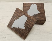 Pick State, Pick Color, Maine Wood Coasters, Set of 4, Wedding, Housewarming