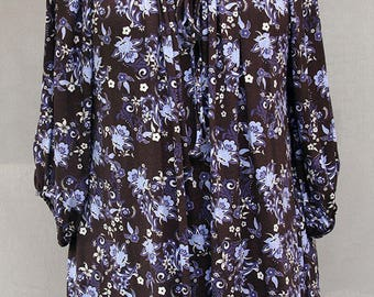 Floral printed blouse - violet and brown printed tunic - flowery blouse - flowery printed tunic - Hand made - Made in France