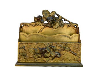 French Rare Art Nouveau Bronze Letter Holder by Albert Marionnet - Summer Raspberry Decor - Desk & Office Accessory - French Antiques