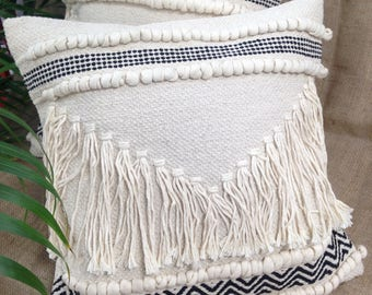 Natural Cream Macrame Boho Style Cushion Covers with the Scandi Vibe.  100% Cotton with Rope Tassels, Bobble and Plait Details - 4 Designs