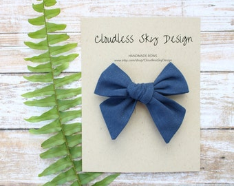 hair bows, navy bow, girls hair bow, school hair bow, hair bow for girls, baby hair bow, fall bow, navy bow clip, tied bow