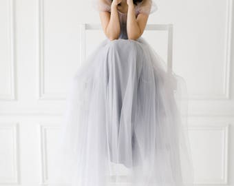 Grey Wedding Dress Blush Tulle Gown With Train