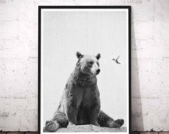 Woodlands Nursery, Baby Woodland Animal Wall Art, Black And White Nursery Art Baby Animals, Baby Wall Art Bear, Bear Prints, Nursery Decor