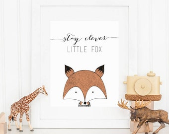 Stay Clever Little Fox Baby Nursery Printable Sign, Fox Drawing Nursery Digital Wall Art Template, Instant Download, 8x10