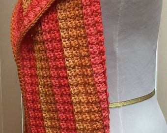 Orange Gold Coral Hooded Scarf Scoodie Fall Colors Striped Fringed Open End Wide, Handmade Crochet Winter, Women's Ladies Gifts for Her