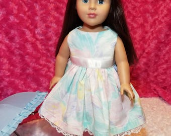 Pastel Spring Dress with Ribbon and Lace - American Girl & Friends