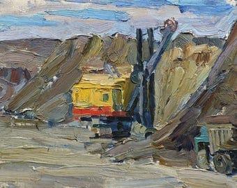 VINTAGE INDUSTRIAL LANDSCAPE Original Oil Painting by listed Soviet Ukrainian artist V.Karkots 1960s Construction painting Socialist realism