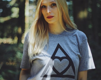 Heart Triangle T-Shirt - Premium Quality, Tri-Blend Soft Vintage Feel - Unisex  - Athletic Grey